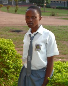 Student Prossy Namuwonge in Uganda at school